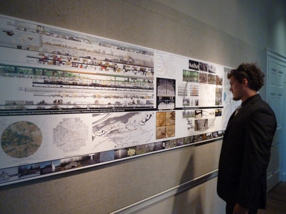 LA student Daniel Rounds viewing Rutgers design at American Association of Architects headquarters in Washington, D.C.
