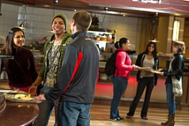 Photo: students in dining hall