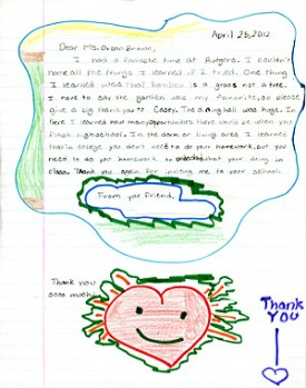 Photo: student letter and drawing