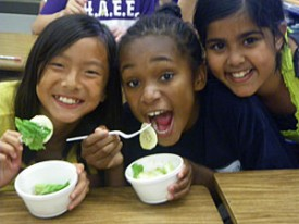 Photo: students eating salad