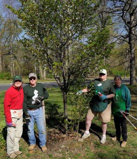 The pruning services provided by the Rutgers Master Gardeners of Essex County is an essential component of the upkeep of the Branch Brook Park cherry trees. L-R: Jean Grossman, Fred Solomine, Pat Hewitt and Suzie Yamarone.