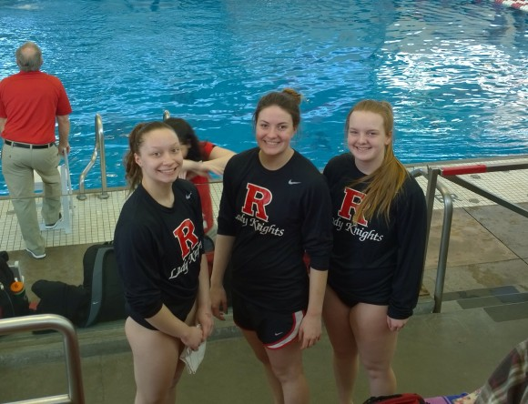 Nicole Scott (center) with fellow Rutgers swimming and diving team members Becca Gross (r) and Alyssa Black (l).