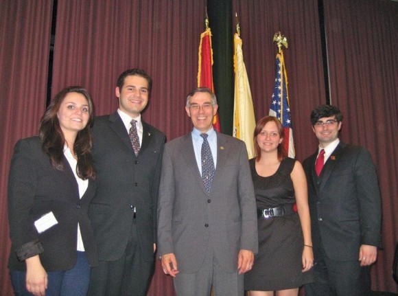 Rep. Rush Holt pose with members of the SEBS Governing Council during his November 2011 visit to the Cook Campus. L-R: Diana --- , Zaid Abuhouran, Congressman Holt, Dayna Bertola, and Peter Canavan.