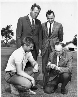 Henry Indyk (top right) with C. Reed Funk (bottom right), Ralph Engel (top left), and a turf management technician (bottom left). The photo was taken sometime in the late 1960s on the current site of the parking lot across from IMCS. At the time, this was the location of the fine turf research farm which was moved to Hort Farm II in the mid-1980s. Photo courtesy Bruce Clarke.