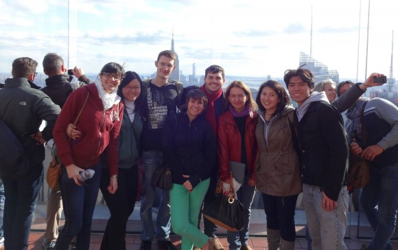 USP students with their Rutgers hosts overlooking the NYC skyline. From L-R (facing camera): Marcela; Lilian; Joao; Megan Francis, program coordinator International Programs; Hernan; Debora and SEBS students Jessica Louie and Yang Yeh.