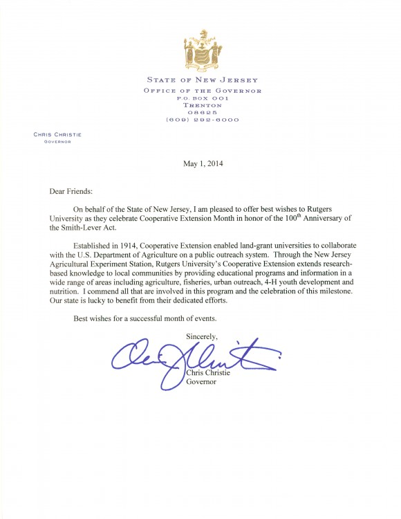 Governor Chris Christie's Letter Declaring May Cooperative Extension Month in NJ