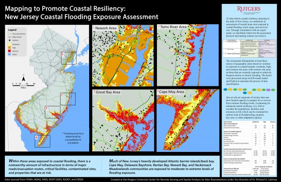 Winning map produced at CRSSA: Mapping to Promote Coastal Resiliency: New Jersey Coastal Flooding Exposure Assessment.