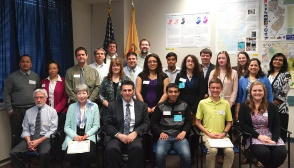 Eden Buenaventura, middle row, third from right, pose with the winners of the DEP's 27th Annual GIS Mapping Contest.
