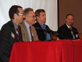 REI panelists (L-R): Bob Kopp (REI Associate Director), Rob Socolow (Princeton), Frank Felder ( Bloustein School), and Frank Napolitano (RBC)
