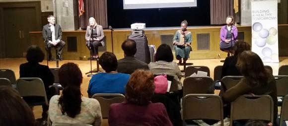Panel L-R: Arturo Brito, NJ Dept. of Health, Ruth Perry, Trenton Health Team, Abena Busia, moderator and Debra Palmer, SNAP-Ed.