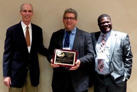 L-R: Mike McGirr, AIARD President, Jim Simon and Albert Ayeni, AIARD Awards Committee Chair. Photo: Susan Schram.