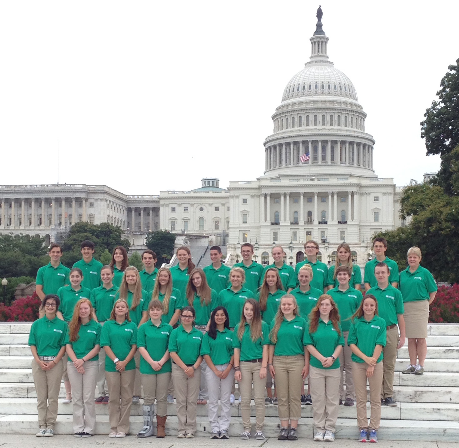 New Jersey 4-H delegates to the 2014 Citizenship Washington Focus on the steps of the Capitol.