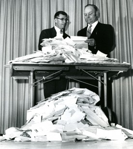 Pollack and former president of the NJ Vegetable Growers Association with mail orders for Ramapo tomato seed, 1968. NJVGA agreed to sponsor the release of Ramapo, making it available to the public.  Almost 10,000 packets were sold the first year.