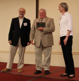 L-R: Phil Simon (University of Wisconsin), Bill Meyer with the NAPB IMPACT Award and Rita Mumm (University of Illinois).