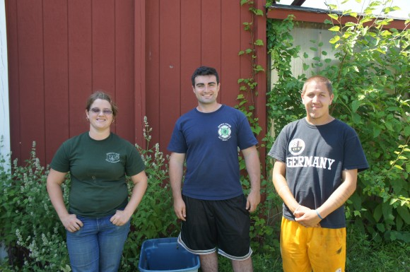 Student Sustainable Farm interns (l-r) Angela Polites, Peter Canavan and David Perotti.