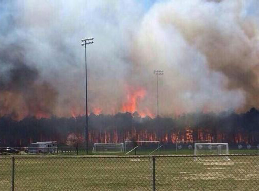 Wildfire in Ocean County, NJ in April, 2014. Source: NJ State Climatologist Office