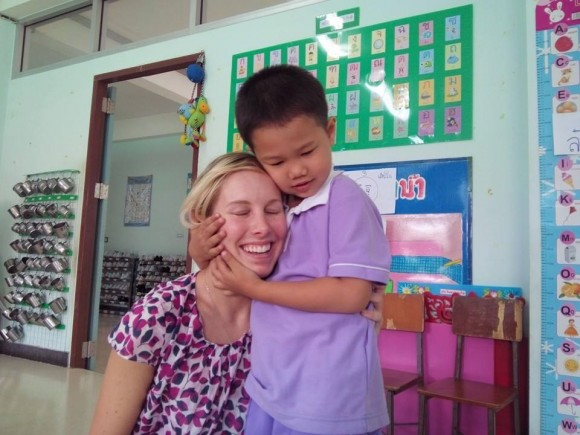 Veronica Walentowicz  and a student at her school that was part of her service learning assignment.