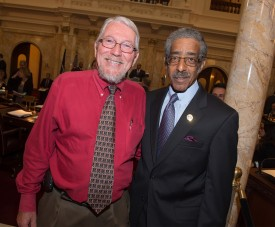 Dean Robert M. Goodman and Sen. Ronald Rice (D-28) in the Senate chambers.