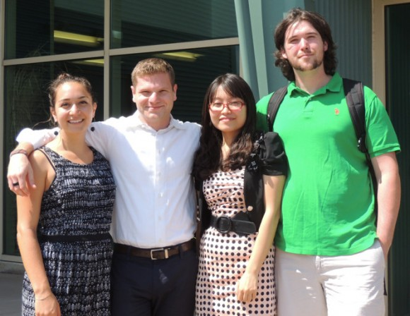 2014 Recipients of the Jerome Goldstein Scholarship Fund For EcoEntrepreneuring (l-r): Selen Altiok, Alec Roth and Boni Zhang. Ian MacCloud's (right) research was funded by the Entrepreneurial Agriculture internship program.