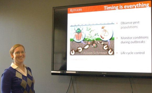 Amy Rowe introduced Organic Land Care to SEBS staff members on Oct. 21.