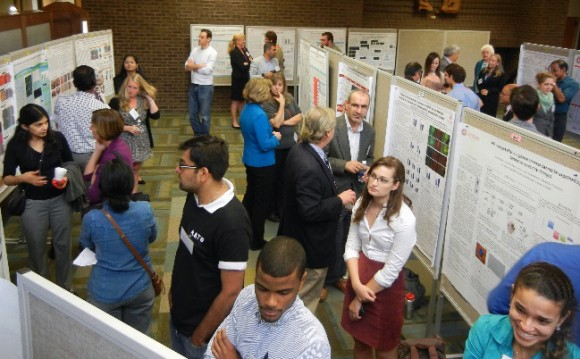 Poster session in the Fireside Lounge in the Busch Campus Center. Photo: Kathy Manger, Animal Sciences.