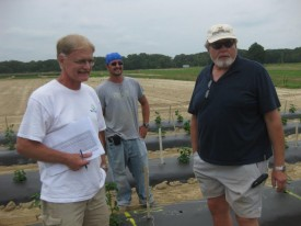 From L-R: Bill Barney (IR-4);  Rutgers' SEBS intern C.J. Ruch, and Principal Investigator Tom Orton sharing views on the pepper project at RAREC.