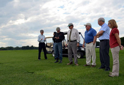 (L-R) Brad Hillman, Bob Goodman, Doug Fisher, Bill Meyer, Bruce Clarke and Stacy Bonos observe a plot of tall fescue at the Rutgers Plant Science Research and Extension Farm. Photo source: New Jersey Department of Agriculture