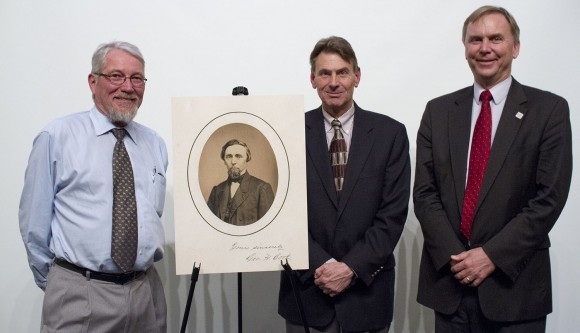 George H. Cook, the star of the Distinguished Lecture celebrating the 150th anniversary of the school, is flanked, from the left, by Executive Dean Bob Goodman, University Archivist Thomas Frusciano, and Thomas Farris, dean of the School of Engineering.