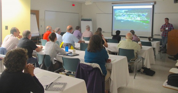 VIMS' Ryan Carnegie address workshop participants.