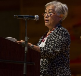Lily Young speaks at the 2013 SEBS Induction Ceremony.