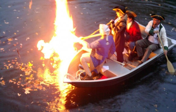 "Re-enactment of the George Washington – Thomas Paine discovery that the ""Will-O'-the Wisp"" was a flammable gas on the 225th anniversary, November 5, 2008. Photo courtesy of Robert H. Barth"