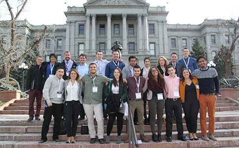 Rutgers students at the State Capitol. Front Row, L-R: Shaun Thomson, Alyssa Vianni, Josh Rodriguez, Theresa Hyslop, Teddy Aretakis, Amber Betances, Danny Rodriguez, Sandra Grosso, Arturo Hernandez   Back Row, L-R: John Jacobs, Sarah Korapati, Austin Scott, Mark Lacey, Scott Miller, James Cocorles, Eugene Fernandez, Christie Saliba, Grace Kinney, Brian Maher, Jacob DeBoer.