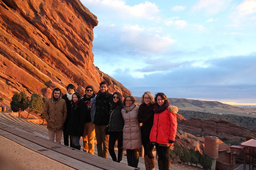 Rutgers ASLA  Student Chapter members pause for a picture at the Redrocks in CO.