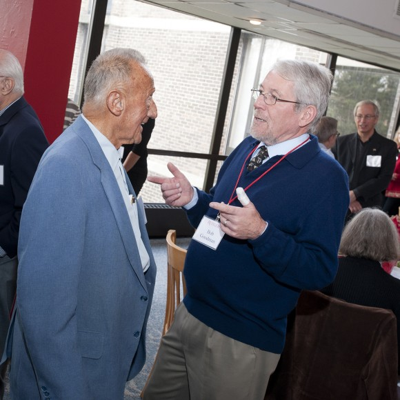 Bob Goodman, right, chats with Karl at the 2011 Retired Faculty Luncheon.