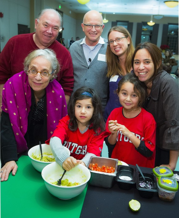 The Cooking, Learning and Eating event was an opportunity for parents to get their kids cooking. Back row, L - R: Doug Duda; Former White House executive pastry chef and Rutgers Alum Bill Yosses; Diana Rice and Orti Polak. Front row, L - R: President of ChopChop Kids Sally Sampson and junior chefs Ella and Sher. Photo by Roy Groething