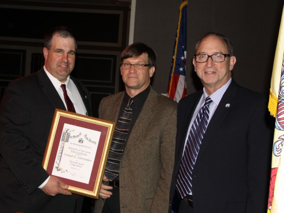 Photo i.d., l to r:  NJ State Board of Agriculture President Richard Norz, Richard VanVranken and NJ Secretary of Agriculture Douglas Fisher