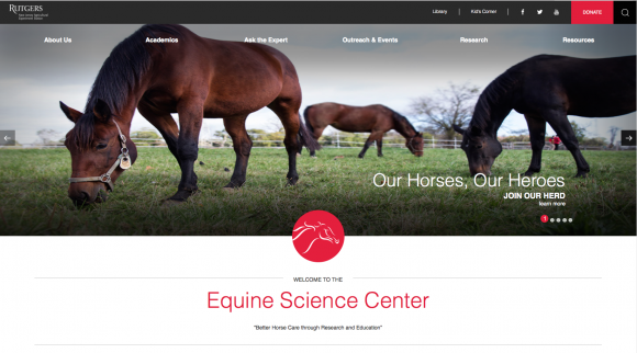 Photo of Rutgers Equine Science Center homepage.