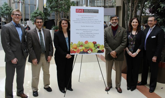 L-R: John Quinn, assistant director, Clinical Nutrition, RWJUH; Joshua Miller, professor and chair, Department of Nutritional Sciences; Jane Barracato, senior manager, Nutritional Sciences, Pfizer Consumer Health; Mukund Karwe, professor, Department of Food Science; Sarah Recanati, Clinical Nutrition Support, Home Solutions Infusion; and Ronald Levine, Esq., co-chair, Litigation Department at Herrick, Feinstein LLP and member of the Board of Advisors of the New Jersey Institute for Food, Nutrition, and Health at Rutgers.