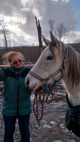 "Pictured with Dr. Sarah Ralston is Bling, a ""sweet and sassy"" 6-year-old unregistered Arabian mare who is being fostered from the Arabian Rescue Mission."