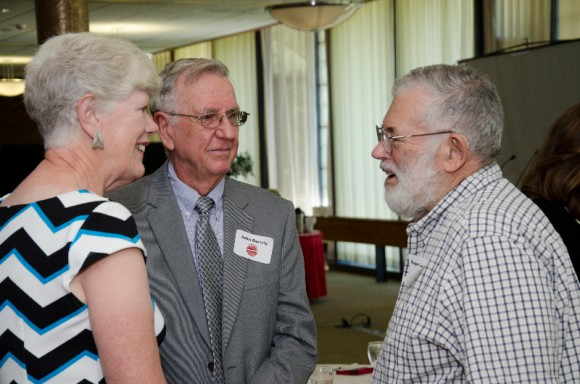 L to R: Anne Gerwig, John Gerwig and Roger Locandro, professor and extension specialist in the Department of Ecology, Evolution and Natural Resources, at the Rutgers retirees' luncheon in 2014.