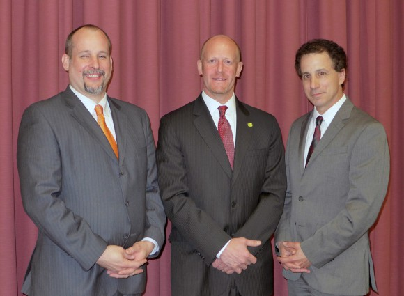 L-R: Winners of the George Hammell Cook Distinguished Alumni Award David Rich, Richard Wolff and John Jengo.