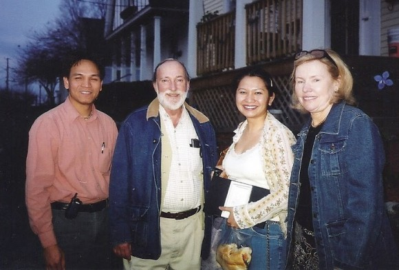 George Morren and Janet Gardner with Sayon Soeun and his wife, Sophy Theam, during one of their meetings in Lowell, Mass.
