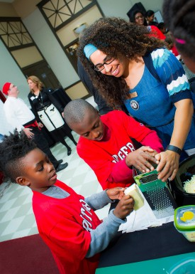 Thalya Reyes was on hand to help at the Kids: Cooking, Learning, and Eating event sponsored by the Institute of Food, Nutrition and Health.
