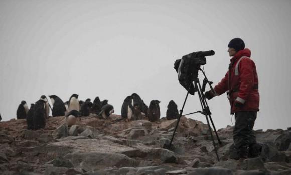 Dena Seidel filming in the Antarctic.