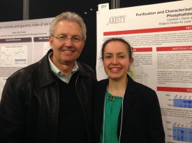 Caroline with her advisor George Carman, received an Honorable Mention at the Aresty Symposium.