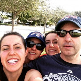 "Davis family ""exercise selfie"" (l-r) Julianne, Maria (mother), Caroline, and Thomas (father) Davis"