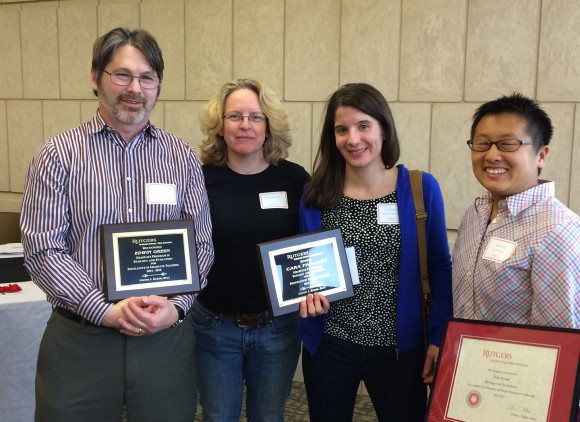 The Ecology and Evolution Graduate Program is represented by (l-r) Ed Green, Director Julie Lockwood, Cara Faillace and Talia Young. Photo credit: Peter Morin.