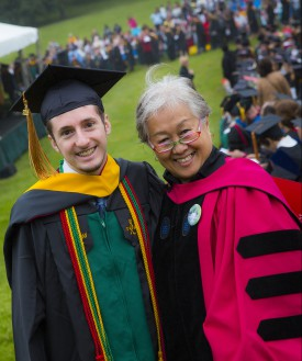"Posing at SEBS 2015 Convocation, biotech major Dan Hollerbach with Prof. Lily Young. Hollerbach received a ""Best Poster"" award in the STEM category at the Aresty Undergraduate Research Symposium."