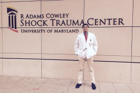 Dan Mascarenhas is pictured outside the Shock Trauma Center at the University of Maryland.