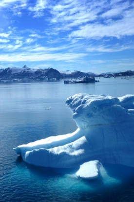 Icebergs near Timiamuit, in southeastern Greenland. Photo by Antony Long.